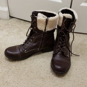 Guess leather booties.